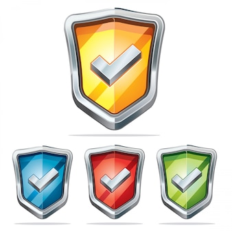 Protection shield security icons..