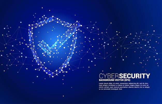 Protection shield with checked mark icon from dot connect line polygon network. concept of guard security and safety