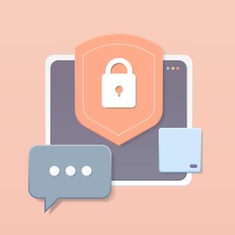 Защитный экран с замком на компьютере, чат, приложение, концепция защиты конфиденциальности