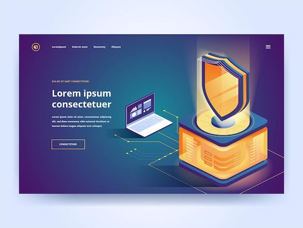 Шаблон векторной целевой страницы программного обеспечения защиты. кибербезопасность, интерфейс защиты от вредоносных программ