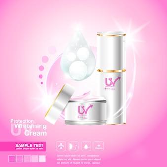 스킨케어 제품에 대한 분홍색 배경에 보호 uv 벡터