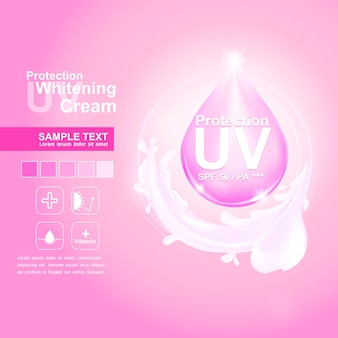 Protection uv vector on pink background for skincare products