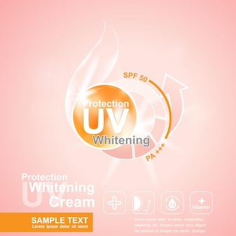 Protection uv and whitening and serum cream  concept background.