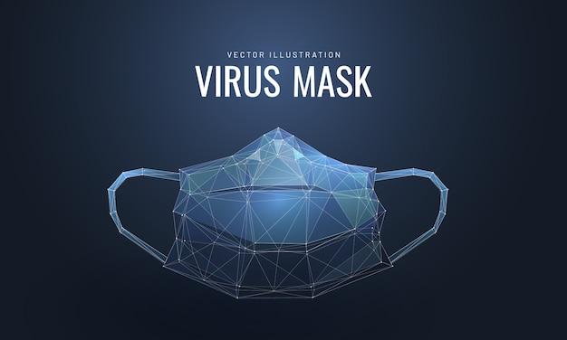 Защитная маска для лица. низкополигональная каркасный стиль.