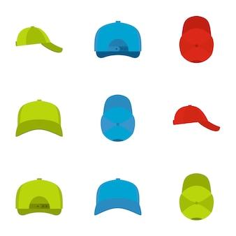 Protective helmet icon set, flat style