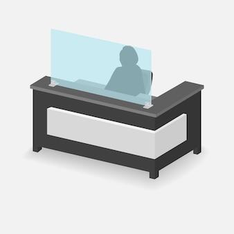 Protective plexiglass shield for reception desk