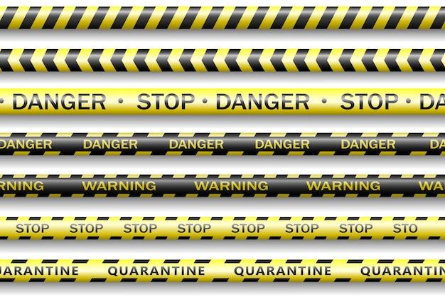 保護テープ、検疫、警告、危険リボンが現実的です。コロナウイルス2019-ncov、リアルなシームレスな黄色と白のセキュリティテープ。 covid-2019の世界的大流行。