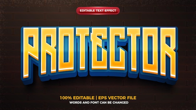 Protector game 3d cartoon game editable text effect