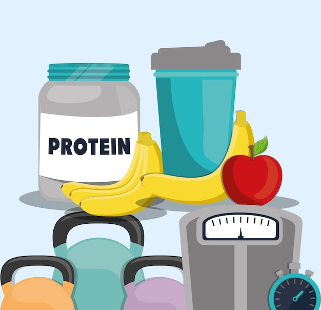 Protein food fruit juice weight gym