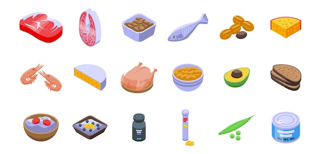 Protein nutrient icons set. isometric set of protein nutrient vector icons for web design isolated on white background