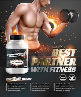 Protein powder ads with hunky man lifting dumbbell in 3d illustration