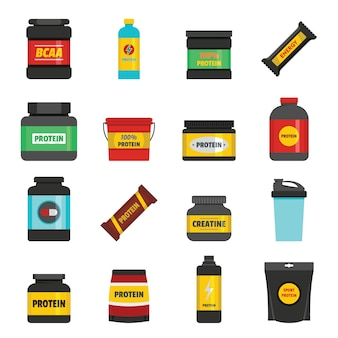 Protein sport nutrition icons set