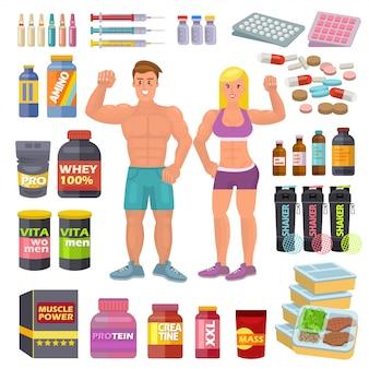 ボディービルスポーツ食品ベクトルボディービルダーは、白いスペースで分離された筋肉の成長のためのエネルギーシェーカーのボディービルトレーニングイラストセットのproteine powerとフィットネスダイエット栄養を補う