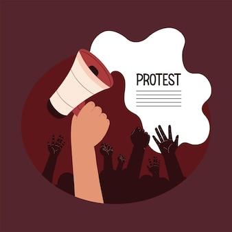 확성기와 시위 활동가
