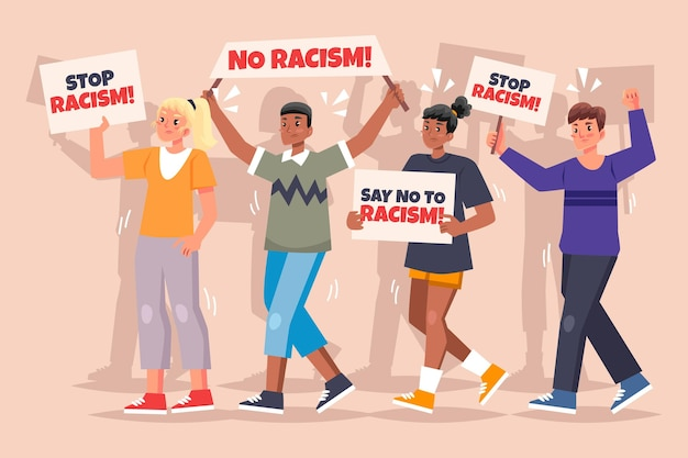 Protest against racism concept