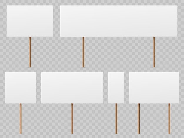Protest banners. blank white placard with wooden stick. politic strike boards realistic  holding public broadsheet template