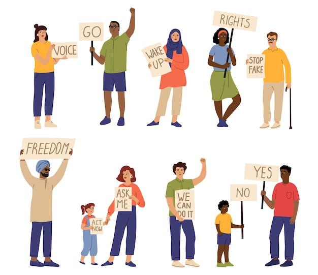 시위 군중. 현수막을 들고 있는 사람들, 빈 배너가 있는 소녀. 고립된 데모 팀, 만화 활동가 노동자 파업 벡터 캐릭터. 항의 표현, 남자 항의 작업자 그림