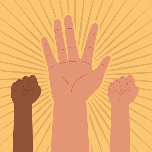 Protest diversity hands up