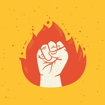 Protest fist hand in flame