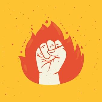 Протест кулак рука в пламени