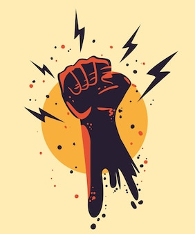 Protest fist with thunders