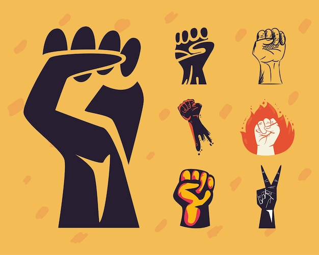 Protest fists hands icon collection