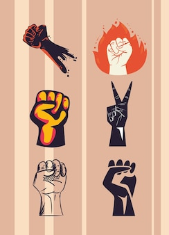 Protest fists hands icon set
