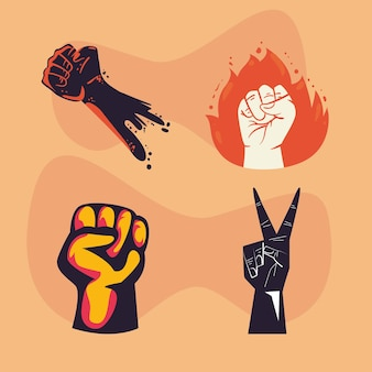 Protest fists hands symbol collection