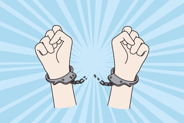Концепция протеста, прав человека и оков. человек поднял кулак руки протеста, разорвав цепи пут, поднимая высоко вверх костяшки пальцев векторная иллюстрация