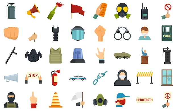 Protest icons set. flat set of protest vector icons isolated on white background