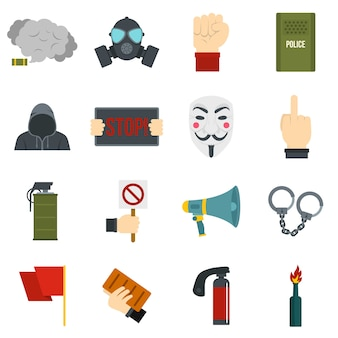 Protest icons set in flat style