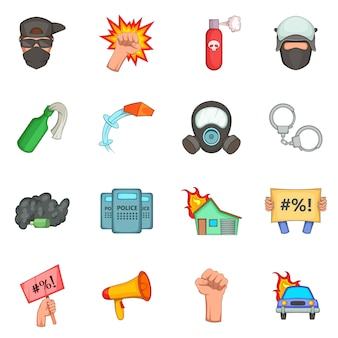 Protest items icons set