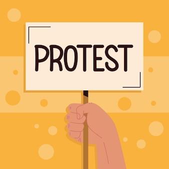 手に抗議レタリング