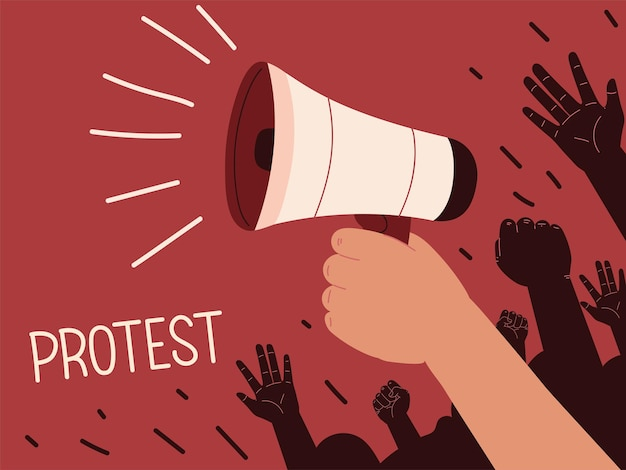 Protest megaphone in hand