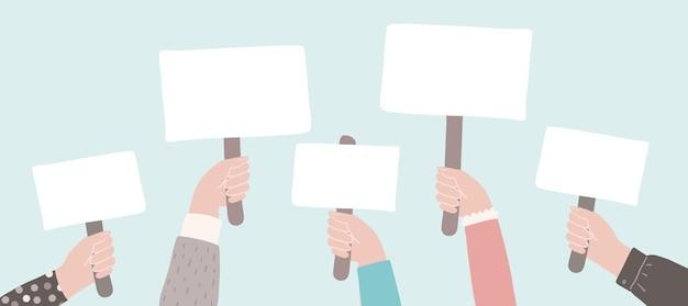 Протест или пикетирование людей, держащих знаки активистов против дискриминации вектор плоской демонстрации Premium векторы