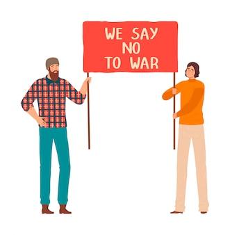 差別全命メーター、白、イラストで隔離の漫画のキャラクターのセットに抗議する人々