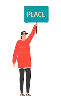 差別に対するすべての人々に抗議する人々の生活メーター、白、ベクトル図で隔離の漫画のキャラクターのセット