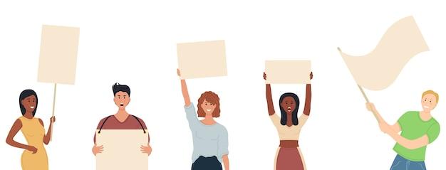 抗議。空の看板を掲げる活動家たちが現れる空白のバナーを抱える人々の群衆。政治集会、パレード、集会に参加する男女。男性と女性の抗議者またはacのグループ