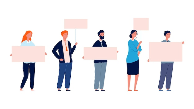 Protest people. demonstration woman man with placards. isolated flat characters holding banners vector illustration. people holding banner, woman protester political