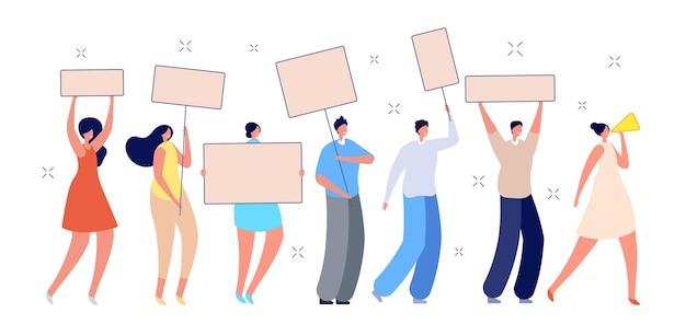 항의 사람들. 플래카드를 든 시위대, 여성 집회 시위. 배너, 정치 퍼레이드 벡터 일러스트를 들고 남성 여성 활동가. 집회 시위, 활동가 시위를 만나다