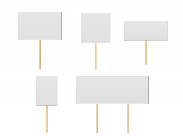 Protest placards, public transparency with wooden holders. campaign boards with sticks.