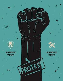 抗議ポスター、抗議で開催された拳