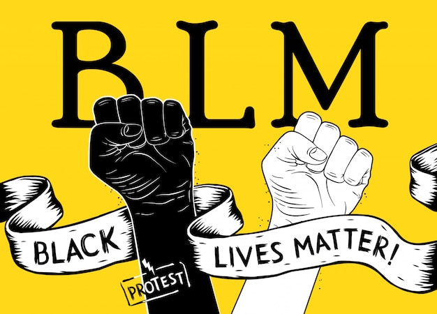 Protest poster with text blm, black lives matter and with raised fist. black lives matter poster. idea of demonstration for racial equality