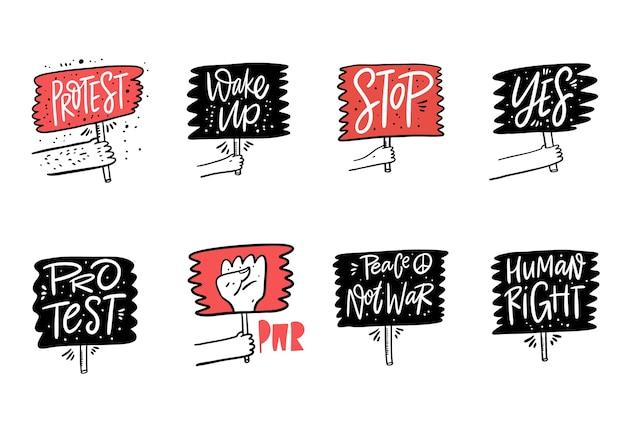 抗議サインコレクションセット。やる気を起こさせる書道のフレーズ。手描きイラスト。白い背景で隔離。