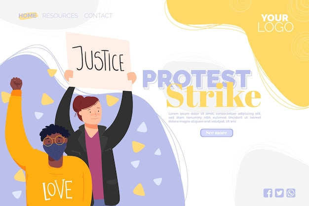 Protest strike landing page illustrated