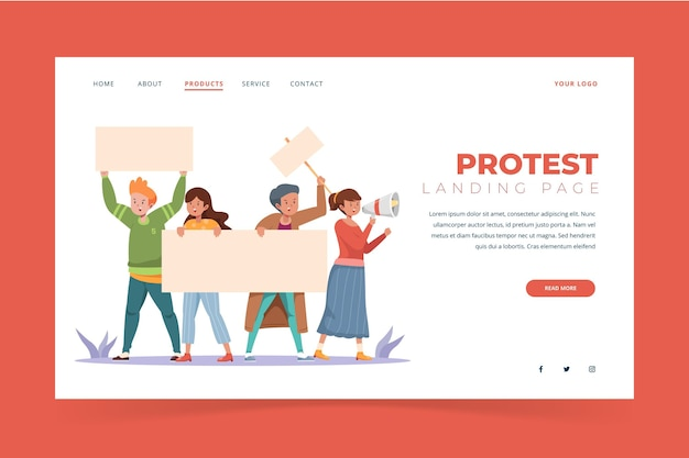 Protest strike landing page style
