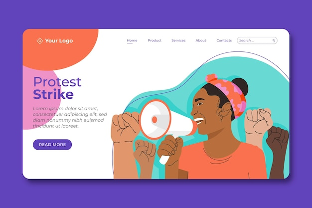 Protest strike landing page template