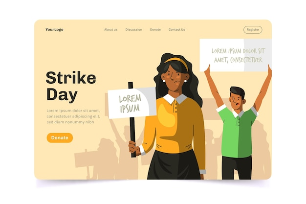 Protest strike landing page