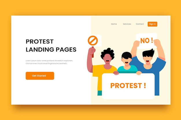 Protest strike landing page