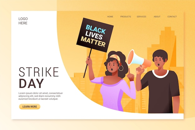 Protest strike - landing page